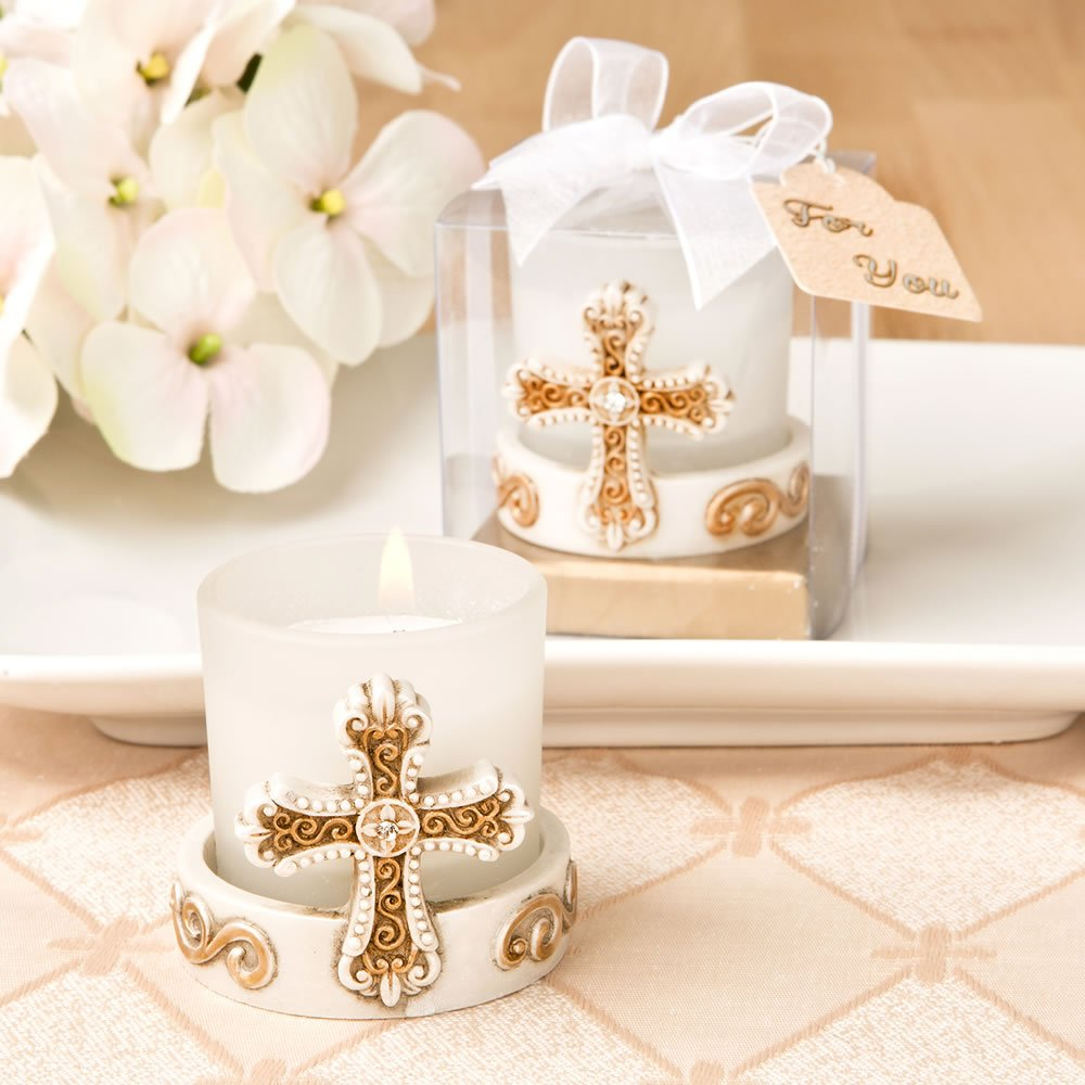 96 Vintage Cross Themed Candle Votives by Fashioncraft