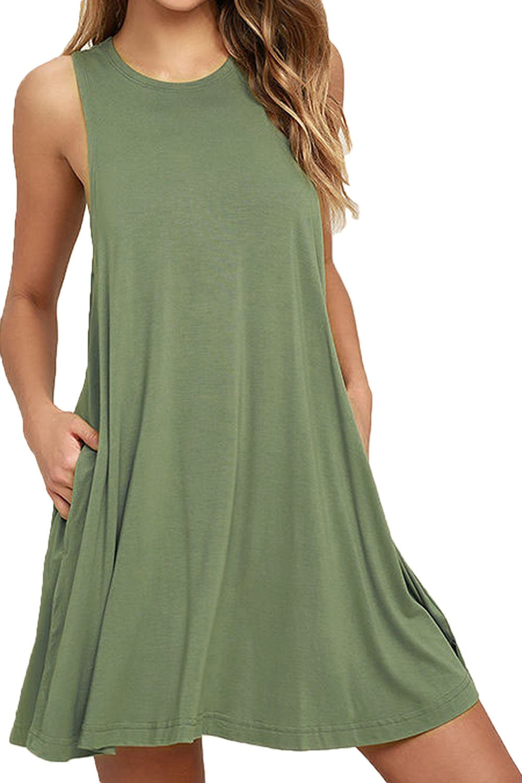 Zalalus Casual Dress, Womens Sleeveless Summer Loose T-Shirt Swing Dresses With Pockets Tunic Short Shift Sundresses For Beach Travel Army Green Medium US 8 10