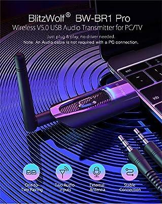 Transmisor Bluetooth 5.0, BlitzWolf Adaptador Bluetooth Audio para ...