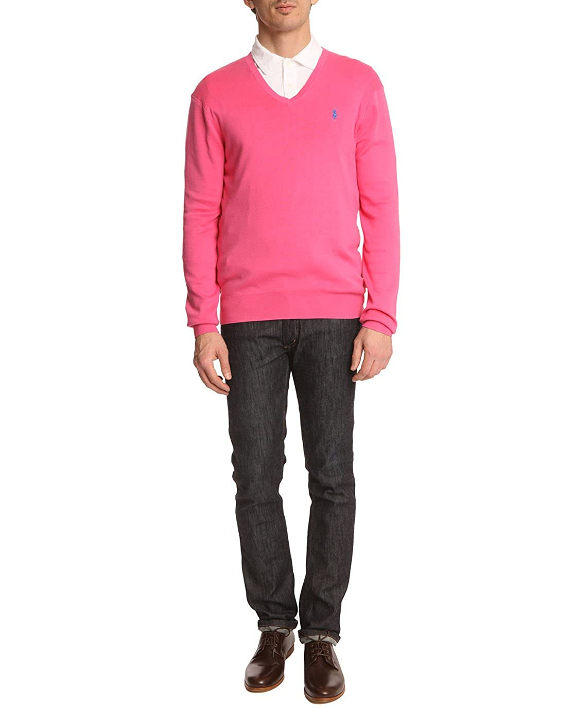 084e383ef4b513 Polo Ralph Lauren Pullover - V-Ausschnitt - Herren - Pullover Slim Fit rosa  Terra für herren - L  Amazon.de  Bekleidung