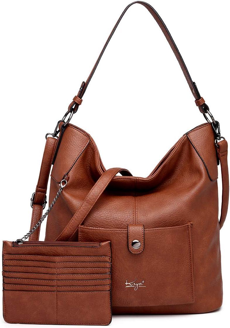 Women Shoulder Handbag Purse Top-Handle Hobo Roomy Casua Ladies' Shoulder Bag Fashion PU Tote Satchel Bag for Women (B-KL5208#H2108#205D.BROW)