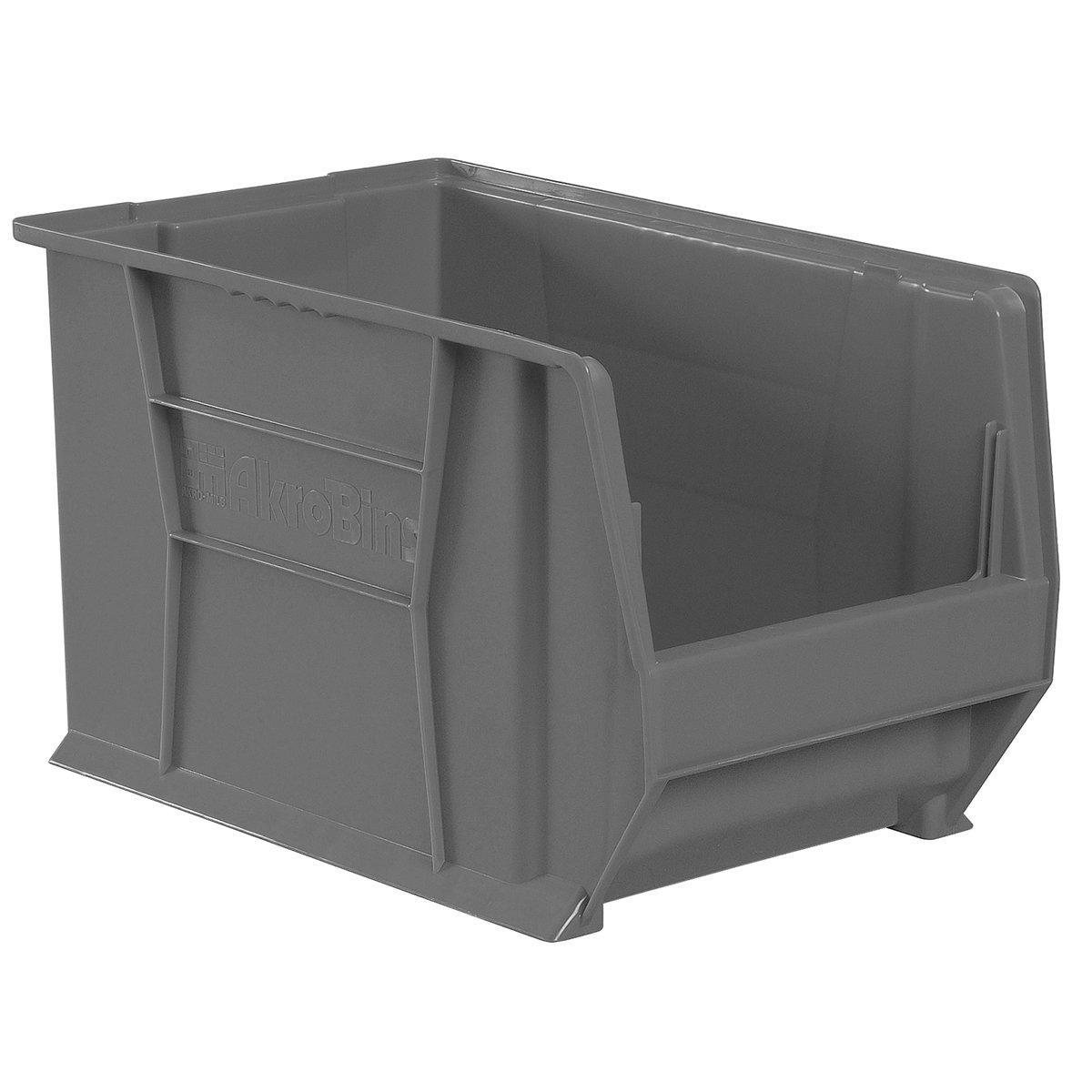 Akro-Mils 30282GREY Super Size Plastic Stacking Storage, 20-Inch x 12-Inch x 12-Inch, Grey, Case of 2