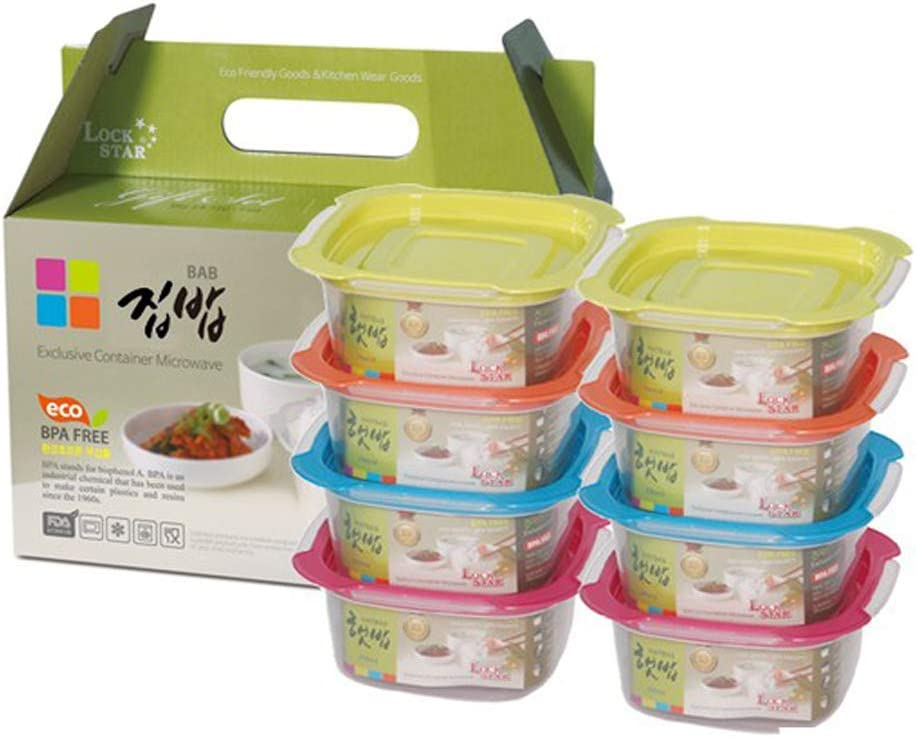 Lock Star Food Container 8 Set, Meal Prep Containers, Food Storage Containers, BPA Free Lunch Boxes, Microwave, Oven, Freezer Safe