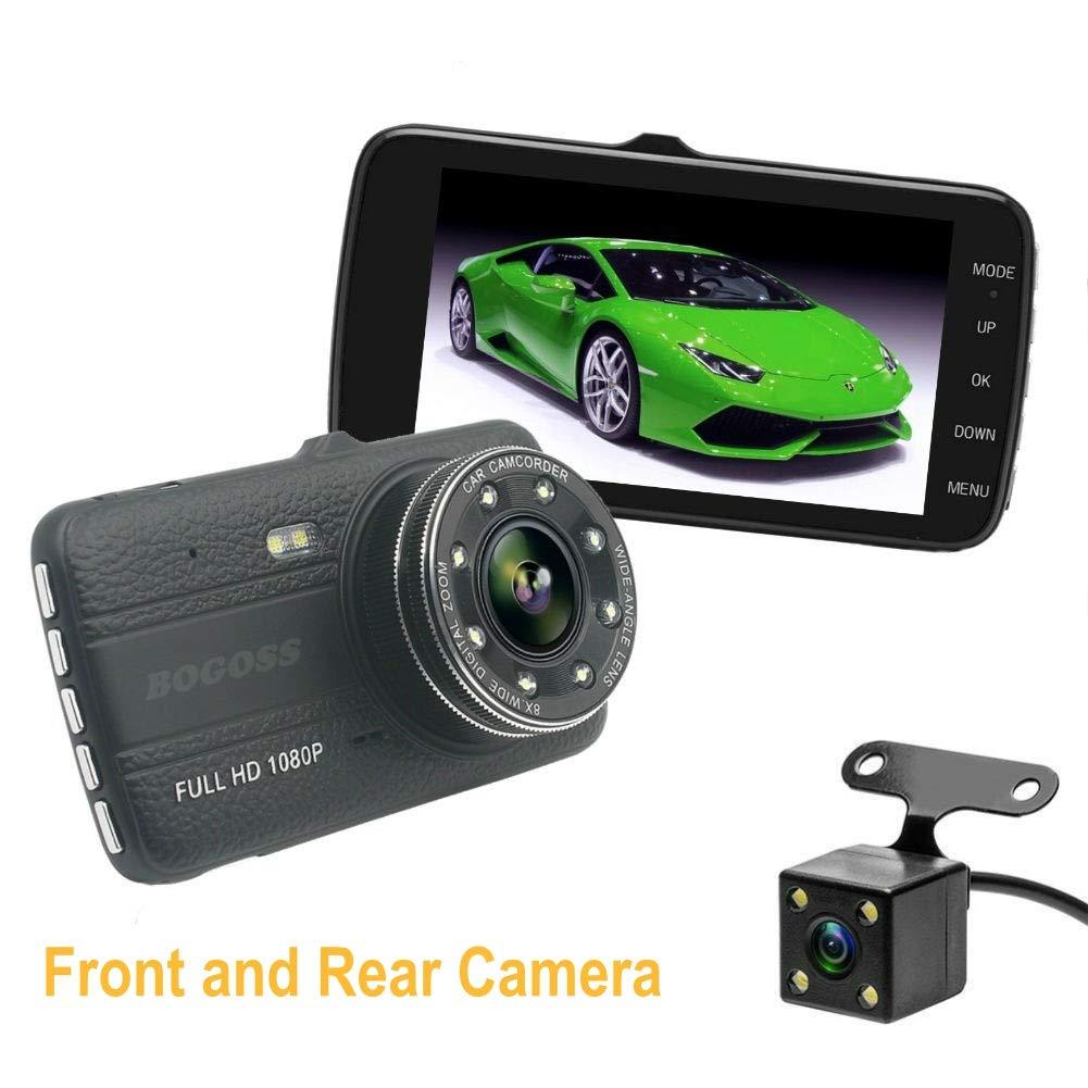 Cámara de coche 1080P Full HD cámara de salpicadero delantera y trasera de doble lente DVR 4 pulgadas pantalla videocámara 170° gran ángulo de vigilancia de estacionamiento con visión nocturna detección de movi