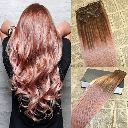 16'' Full Head Balayage Clip Ins Hair Extensions Rose Gold Remy Balayage Clip in Extensions Human Hair Double Drawn Clip on Omber Hair Extensions (Rose Extensions)