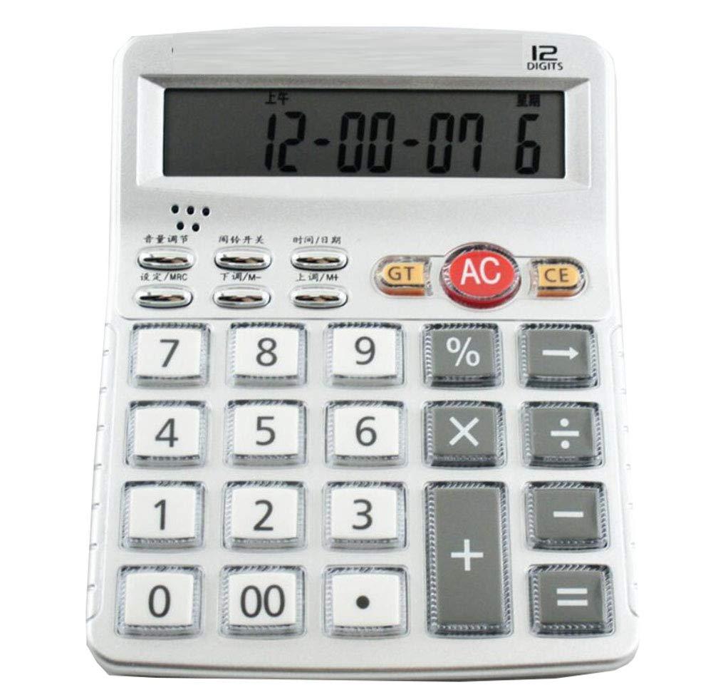Calcolatrice Calcolatrice vocale di moda semplice Display a 12 cifre Pronuncia di vita reale Calcolatrice finanza ufficio Facile da trasportare (Argento) NO 02 BY