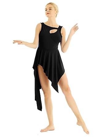 e425c222e ACSUSS Women Girls Lyrical Ballet Dress Dance Leotard Asymmetrical High Low  Skirt Black X-Small
