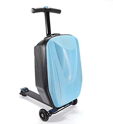 "20/"" Pedal Suitcase Rolling Luggage Cart Folding Scooter Hard Case Trolley Blue"