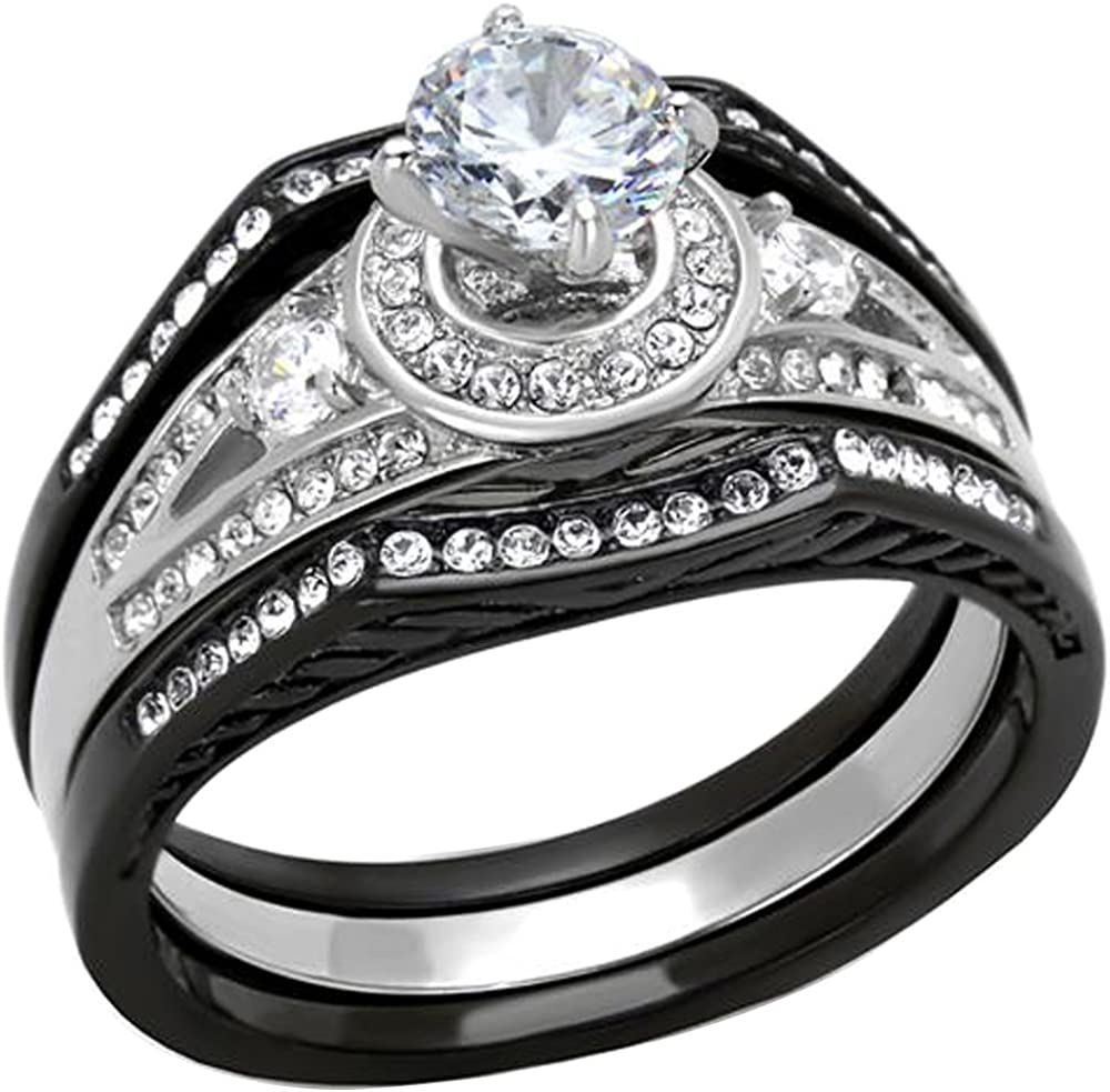 FlameReflection 2.15 Ct Halo Round Cut CZ Black Stainless Steel Wedding Ring Set Women's Size 5-10 SPJ
