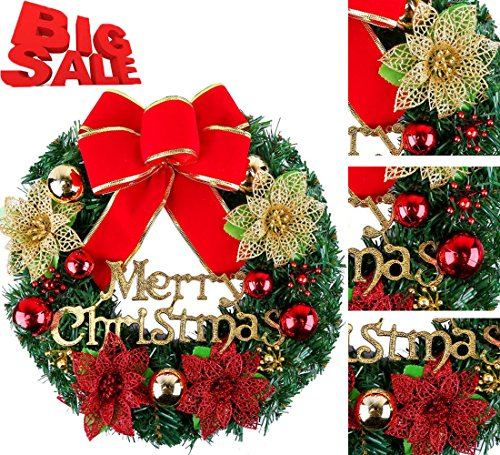 Christmas Wreath Poinsettia Pine Artificial Christmas Garland Door Wreath Wall Garland Christmas Decorations for Xmas Holiday Home Party New Year (Red, (Needle Christmas Wreath)