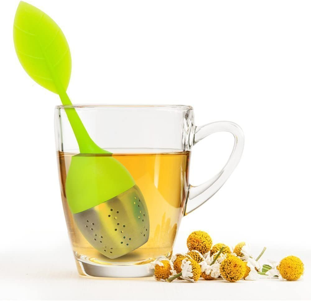 FOME Tea Infuser Leaf Strainer Handle with Steel Ball Silicone Leaf Lid 2 PCS, Blue FOME GIFT