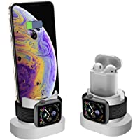 XDODD Charging Stand for Apple Watch, AirPods Charger Stand& iPhone X/8/8Plus/7/7Plus/6s/6s Plus, 2 in 1 Charging Dock for Apple Watch, Charging Station for iWatch Series 4/3/2/1/,iPhone-White (white)