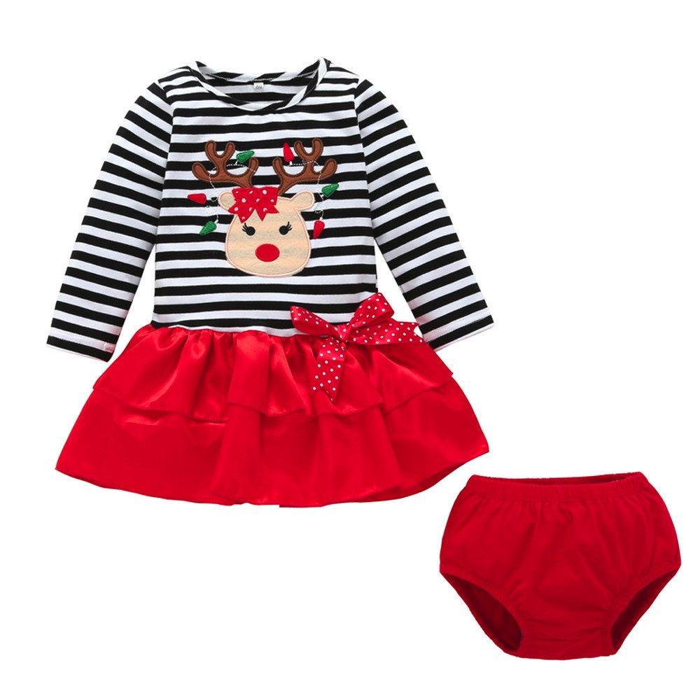 Kolylong Noël Bébé Filles Robe Tutu Pull Tee Shirt à Rayures de Wapiti de Noël imprimée + Pantalons migon 2pcs vêtements Tenues Ensemble Enfants Filles 6 à 24 Mois Noël