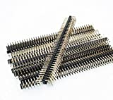 E-Simpo 20pcs 2.54mm (0.1'') Male Pin Header Connector,90D Right Angle, 2X40P 1X40P Pin Header, Single Plastic,A=3mm Plastic Height 2.5mm, Rohs 0.8U Gold-plated (Double Row 2X40P 90D R1 Type)
