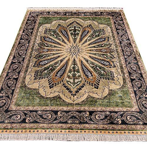 Yuchen Hand Knotted Persian Silk Rug 6×9 Green Handmade Oriental Area Silk Carpet for Living Room