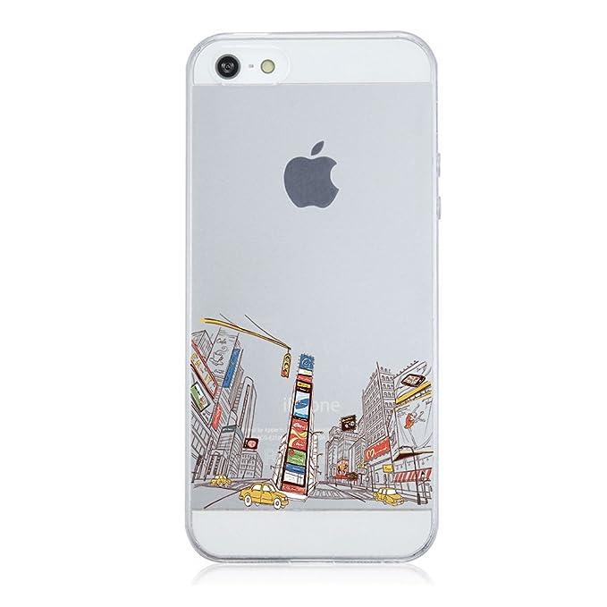 Qissy Carcasa iPhone SE 5 5s, TPU Funda Cubierta de Silicona de Ultra Delgado impresión de Estuche Silicona Carcasa Trasera para iPhone 5 5s