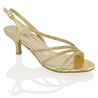 bd807a30b ESSEX GLAM Womens Mid Heel Diamante Bridal Gold Metallic Party Evening  Sandals 5 B(M