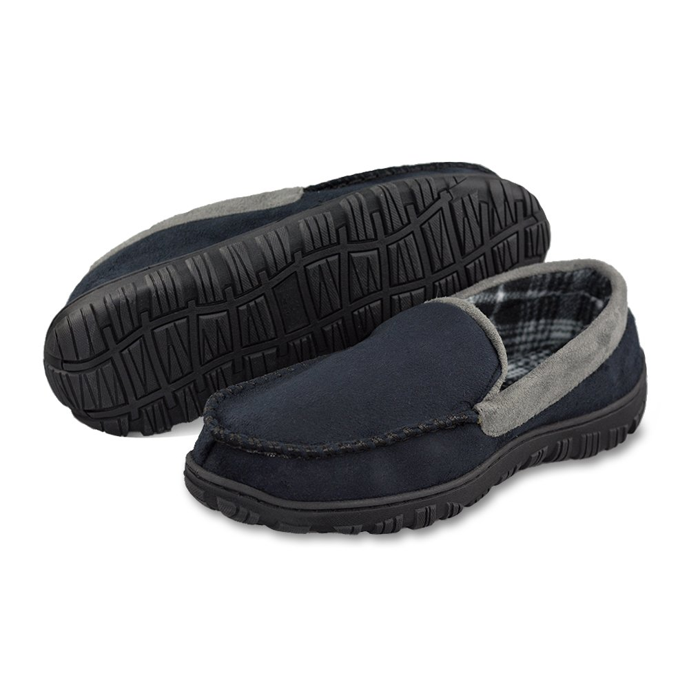 LA PLAGE Male Casual Anti-Slip Indoor/Outdoor Moccasin Slippers with Hardsole Size 11 US Black Gray by LA PLAGE