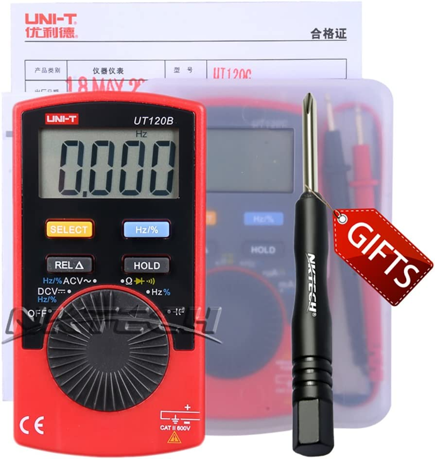 NKTECH TL-1 Screwdriver UNI-T UT120B Mini Pocket Handheld Auto Ranging Digital Multimeter AC//DC Voltage Resistance Capacitance Frequency Duty Cycle Tester Meter 4000 Count