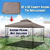 BenefitUSA Replacement 10'X10' Gazebo Canopy Top Cover Patio Pavilion Sunshade Double tiers (Taupe)