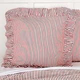 Piper Classics Farmhouse Ticking Stripe Red Euro Sham, 26'' x 26'', Ruffled Pillow Cover