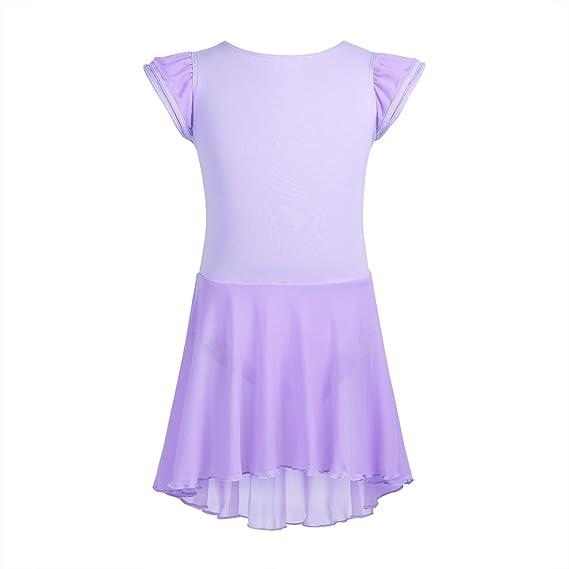 iEFiEL Maillot Vestido de Danza Niñas Leotardo de Ballet Tutú algodón con Braga Interior Lavender 10