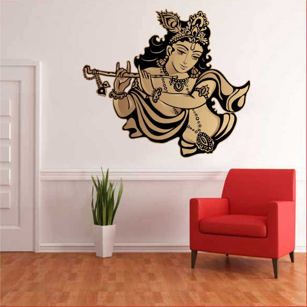 Wall stickers radha krishna - Buy Rawpockets Lord Krishna Flute Singing Wall Sticker Pvc Vinyl 70 Cm X 60cm Online At Low Prices In India Amazon In