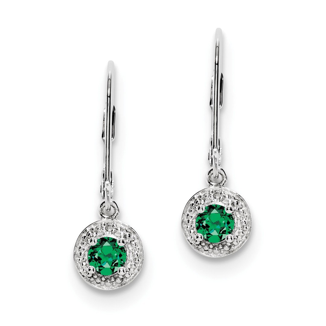 ICE CARATS 925 Sterling Silver Diamond Created Green Emerald Leverback Earrings Lever Back Drop Dangle Birthstone May Set Fine Jewelry Gift Set For Women Heart