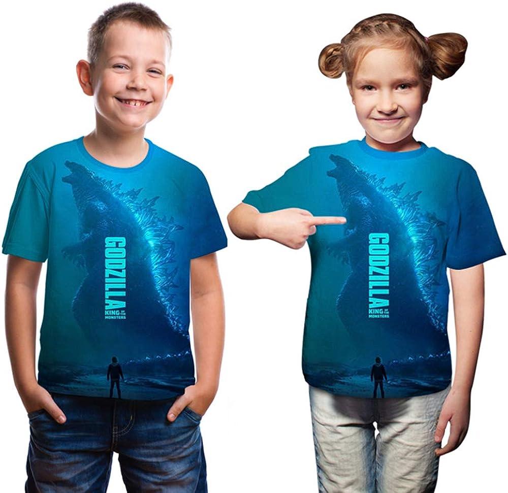 Ms.Feiya Bambini Re Mostro T-Shirt 3D Stampa Dinosauro Tee Mostro Camicie a Maniche Corte Summer Tops per Ragazzo Ragazze 3-11 Anni