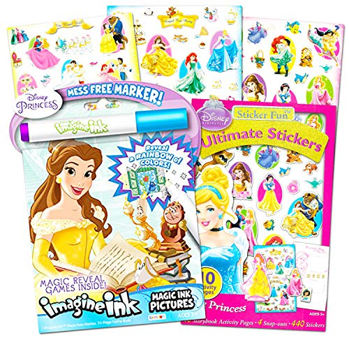 Disney Princess Imagine Ink Book and Sticker Book Set (2 Books and Mess Free -