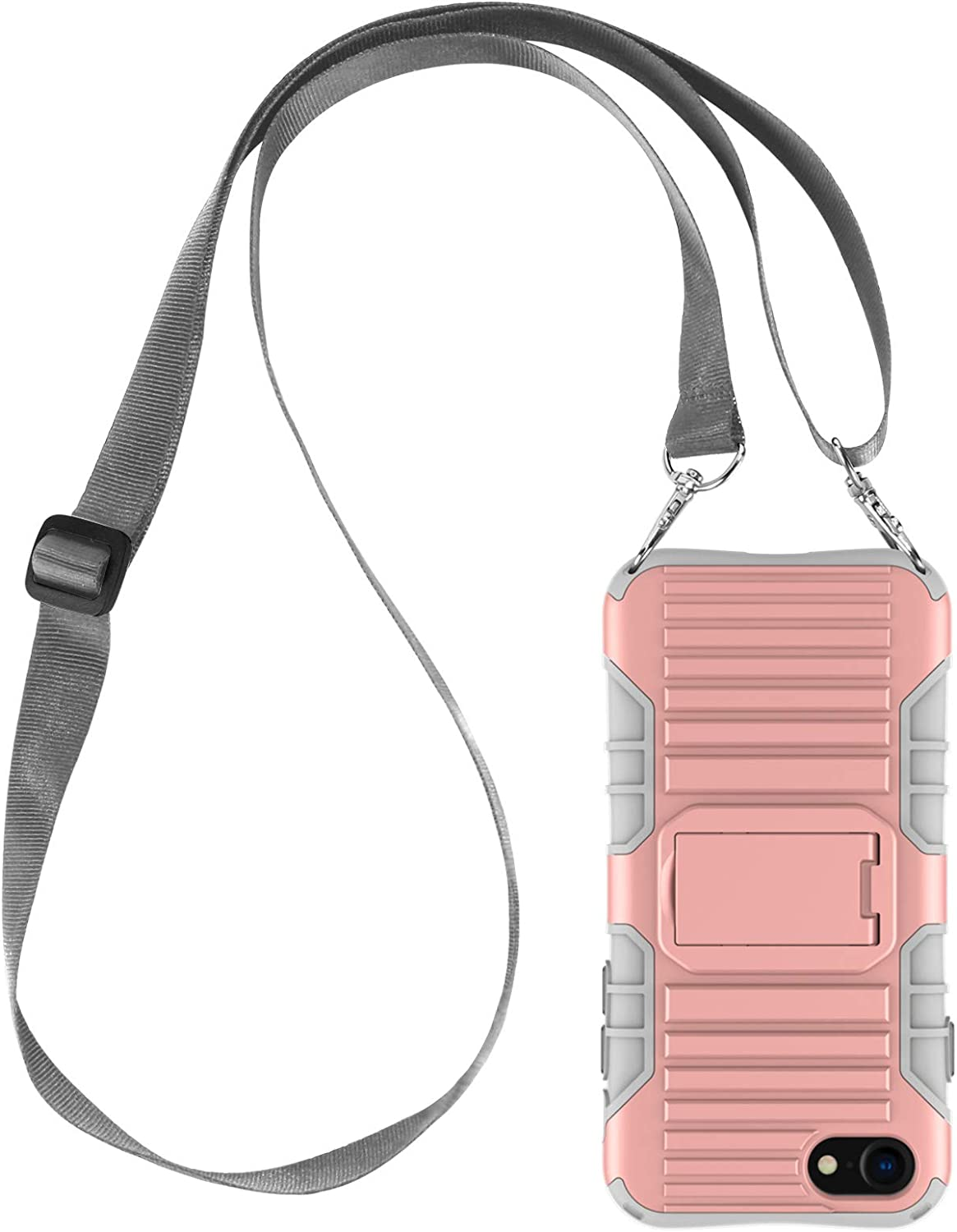 E-Tree Crossbody Lanyard Case for iPhone SE 2020/iPhone 7/iPhone 8 with Kickstand, Shockproof Dual Layered, Anti-Lost Detachable Necklace Strap for Kids and Outdoors, etc-Pink