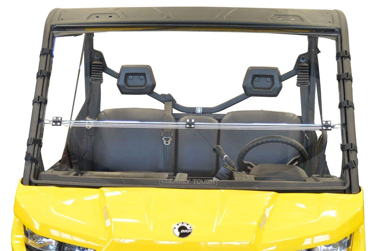 Clearly Tough Can Am Defender Windshield The Ultimate in Side by Side Versatility!Premium Polycarbonate w//Scratch Resistant Hard CoatMade in America!! Scratch Resistant Full Folding