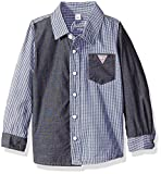 GUESS Baby Boys Long-Sleeve Shirt, Check Blue, 18 Months