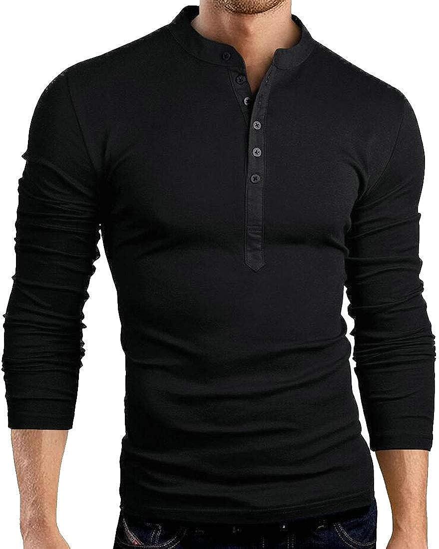 WSPLYSPJY Mens Long Sleeve T Shirt V Neck Tee Henley Shirts Slim Fit Tops
