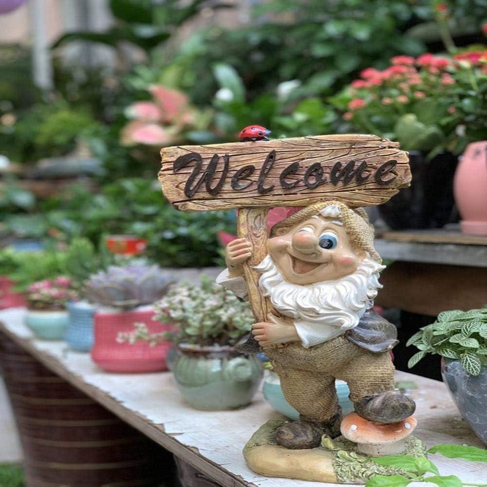 Figura Decorativa para jardín Tarjeta De Bienvenida De Enano De Simulación Estatua De Jardín De Resina A Prueba De Agua Para Yarda Paisaje Césped Decoración Manualidades Regalo - 21 * 12 *