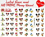 Disney Mickey Mouse and His Friends Nail Art Decals. Clear Vinyl PEEL and STICK Nail Decals (NOT WATERSLIDE) Set of 51 by One Stop Nails CV-MCH-001-51