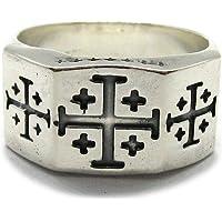 Anillo de plata de lay sólido 925 Cruz de Jerusalem R001965 Empress