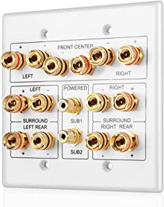 TNP Home Theater Speaker Wall Plate Outlet - Speaker Sound Audio Distribution Panel Gold Plated Copper Banana Plug Binding Post Connector Insert Jack Coupler (7.2 Surround)