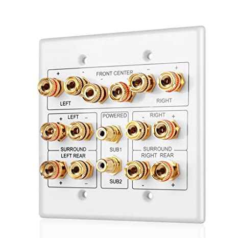 TNP Home Theater Speaker Wall Plate Outlet - Speaker Sound Audio  Distribution Panel Gold Plated Copper Banana Plug Binding Post Connector  Insert Jack