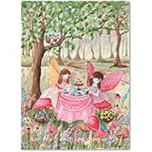 "Fairy Watercolor Wrapped Canvas, Choose Hair Color And Girl""s Name, Tea Party, Enchanted Forest"