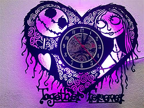 Meet Beauty Ding The Nightmare Before Christmas Old Record Wall Clock Unique LED Lamp -Romantic Love Heart Night Light for Halloween Valentine's Day and Mother's Day(30Cm Round Black)