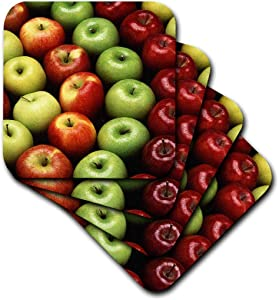 3dRose CST_46844_2 an Apple a Day Apple, Apples, Red Apples, Green Apples, Juicy Apples, Food, Fruit Soft Coaster (Set of 8)