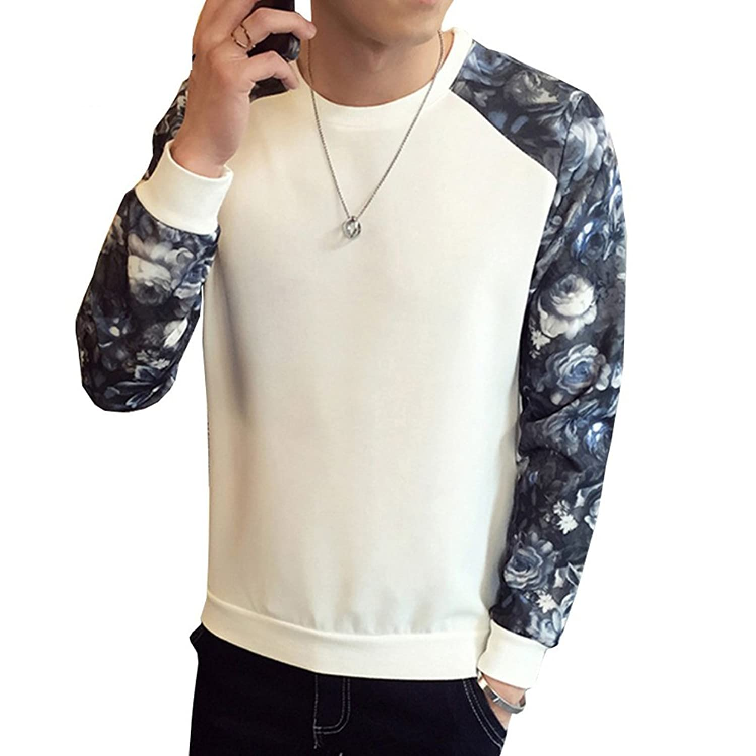 O-Neck Floral Casual Sweatshirt Men Sudaderas Hombre Poleron Mens Sweatshirts Male Sweat at Amazon Mens Clothing store:
