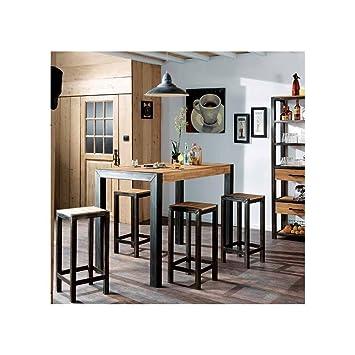 52a08afa7d1da PierImport Table Mange Debout chêne et métal 120cm FERSCOTT  Amazon ...