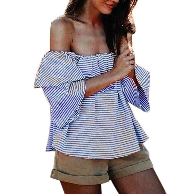 camisas de mujer,Switchali Mujer Verano casual moda algodón camisa de playa sin tirantes atractivo