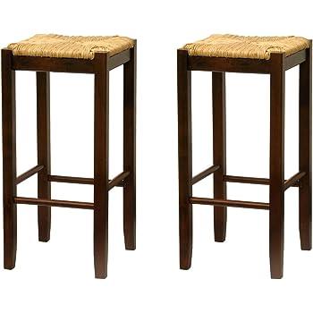 Amazon Com Bar Stool 29 Inch Rush Seat Walnut Finish Set