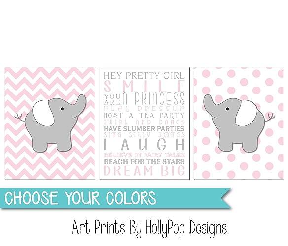 Amazon Pink Gray Elephant Nursery Art Girls Room Quotes Baby