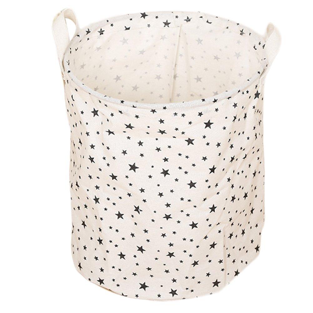 Da. WA à linge Sac poubelle Panier de rangement Pop Up Panier à linge double poignée pliable pour linge sale, blanc, Dots Da.Wa