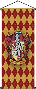 Harry Potter Hogwarts Gryffindor Slytherin Hufflepuff Ravenclaw Collection House Banner Wall Decoration Indoor Outdoor Party Holiday Decoration Flag (Contains Flagpole,16x43inch)