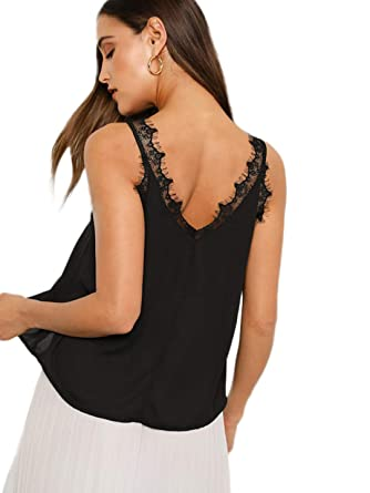 a97687ee7a ROMWE Women's Sleeveless V Neck Lace Trim Casual CropCami Vest Top Black XS